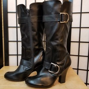 American Eagle knee high zip up buckle boots